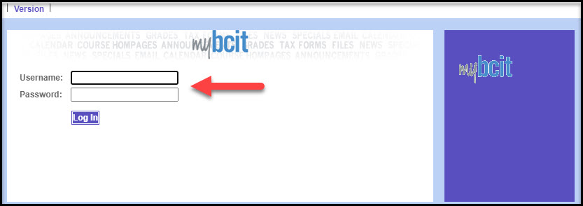 Screenshot of OLD myBCIT mimas log in