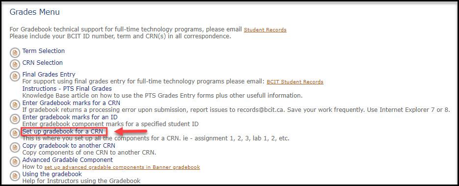 Screenshot of Set up gradebook for a CRN link in myBCIT