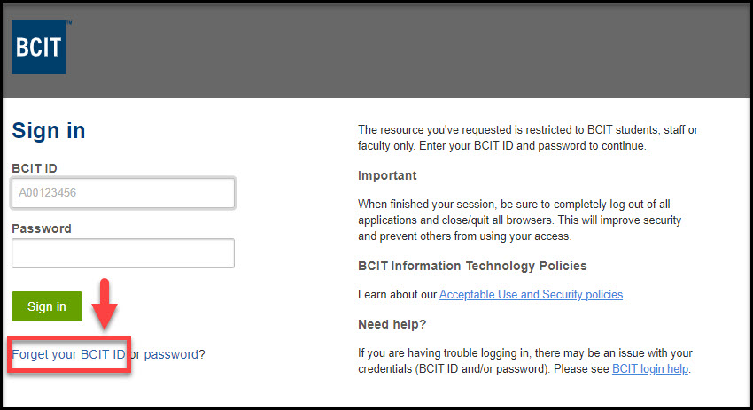 Screenshot of link to Forget your BCIT ID in Sign in page