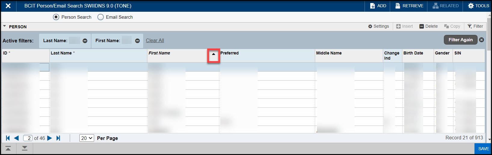 Screenshot SWIIDNS Sort order column