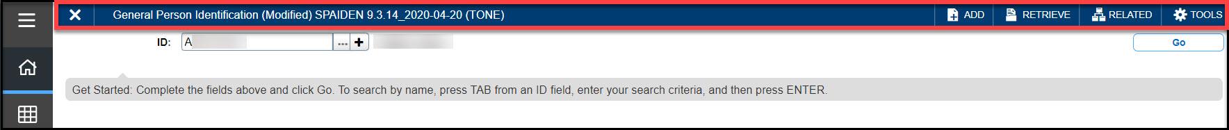 Screenshot B9 SPAIDEN page header in key block