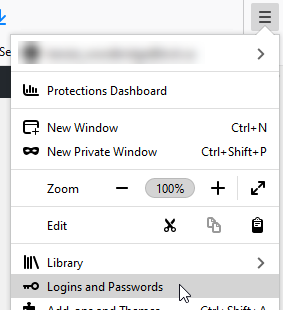 Firefox application menu expanded, with the mouse cursor hovering over Logins and Passwords