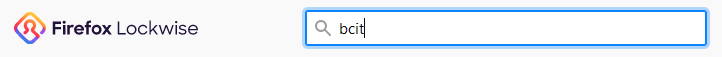 Firefox Lockwise icon next to a search field filled in with BCIT