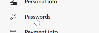 Passwords option in the Profiles page