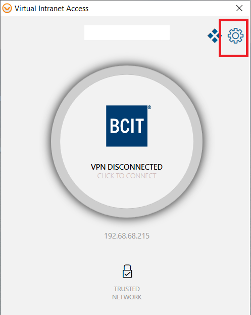 myVPN window, with the BCIT logo in a grey circle in the middle