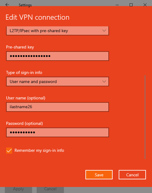 Edit VPN window, showing the fields for user name and password