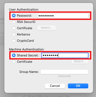 Authentication details pop-up, showing the the password and shared secret fields highlighted with red squares