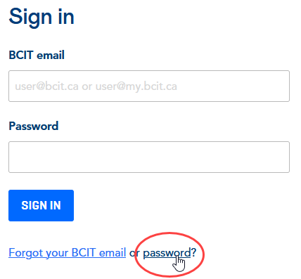 BCIT login page with a red circle around the forgot your BCIT password link