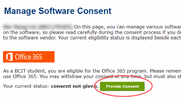 Manage Software Consent page showing the orange Office 365 logo and the green Provide Consent button circled in red