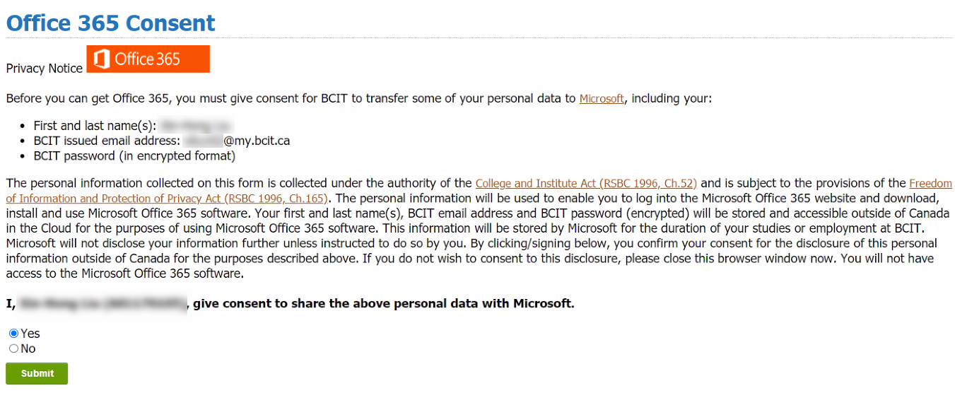 Office 365 privacy notice with the green Submit button visible at the bottom