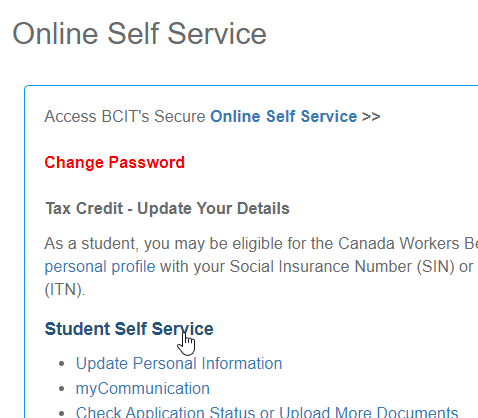 Online self service links in myBCIT with a cursor hovering over the Student self service link