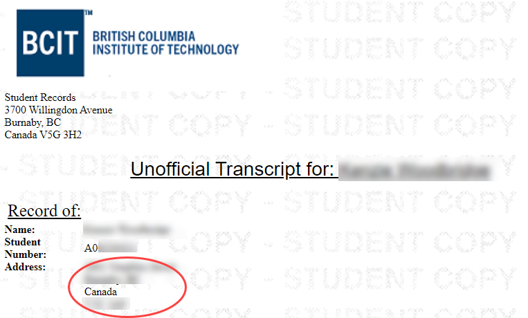 Unofficial transcript header, with a red circle showing where the address would be