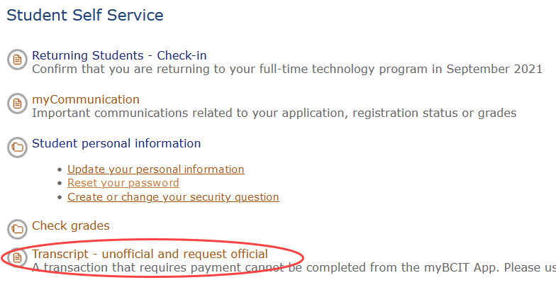 Student Self Service menu with the Transcript menu item circled in red