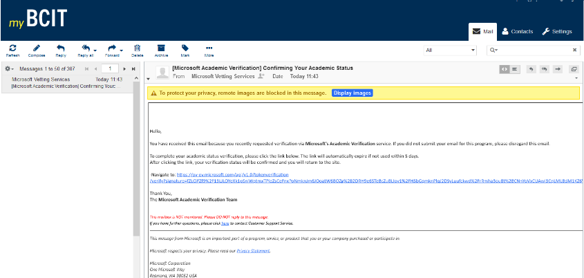 myBCIT email inbox showing Microsoft verification email