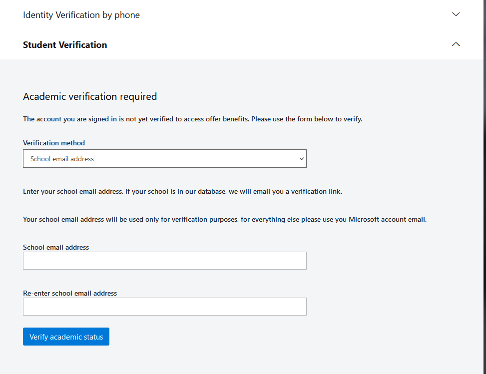 identity verification required dialog, showing inputs to enter your school email address, twice