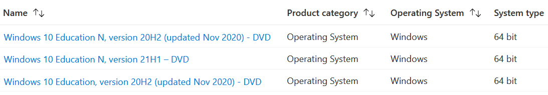 search results showing three version of Windows 10 Education operating system available for download