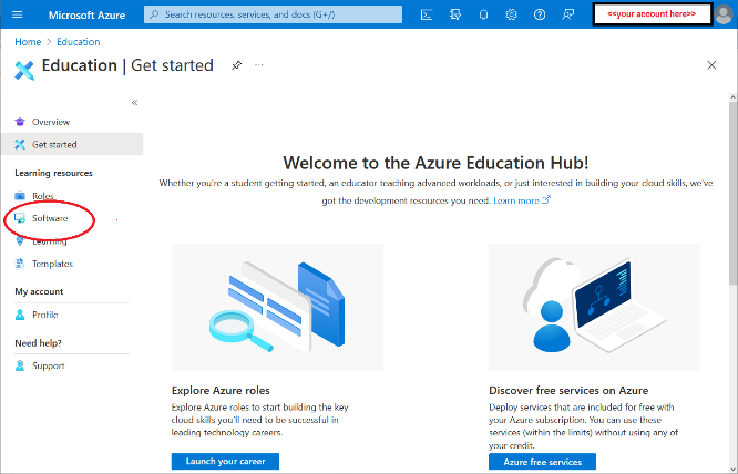 Azure interface with Software circled in red