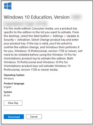 Screen capture of the sidebar containing information about Windows 10 Education, Version 1809 (Updated September 2018), with the white View Key and and blue Download buttons at the bottom left