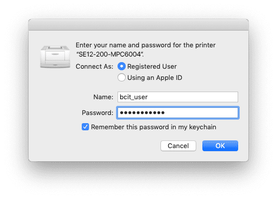 authentication pop-up for the printer, showing email prefix, occluded password, and checked remember in keychain checkbox